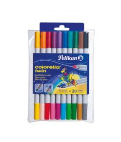 Viltpliiats 10+10 värvi  Pelikan 2 otsaga