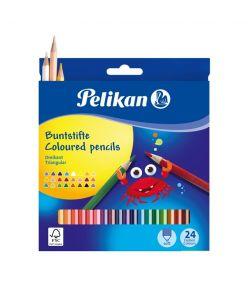 Värvipliiats 24 värvi  Pelikan kolmnurksed SOFT