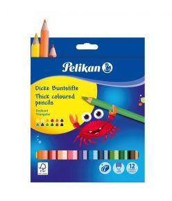 Värvipliiats 12 värvi Pelikan jäme SOFT kolmnurkne teritajaga