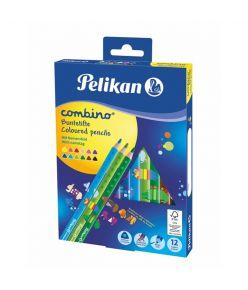 Värvipliiats 12 värvi  Pelikan Combino jäme kolmn. SOFT