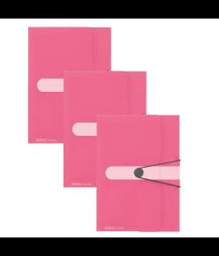 Kummiga kaaned A4 Color Block indoneesiaroosa, 3 tükki pakis