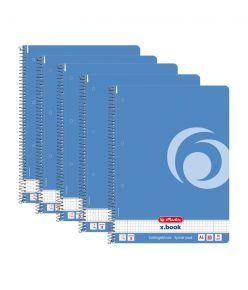 Spiraalkaustik A4/80 ruut Color Block baltisinine, 5 tükki pakis