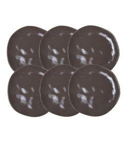 Keraamilised desserditaldrikud ORGANIC 20cm pruun 12tk