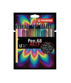 STABILO tindipliiats, Pen 68, ARTY, 18 värvi