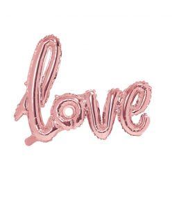 """Fooliumist õhupall """"Love"""" - 73 x 59 cm, kuldne/roosa"""
