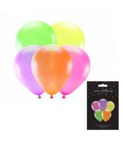 PartyDeco õhupall, 5 tk, diameeter 25 cm, neoon