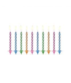 Partydeco tordiküünal, 10 tk, koos küünlajalaga, triibulised, 6 cm