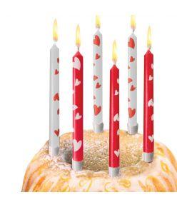 Susy Card tordiküünal, 10 tk, koos küünlajalaga, südametega