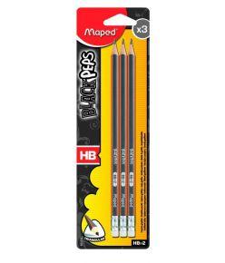 Harilik pliiats kustutuskummiga Maped BlackPeps HB 3tk