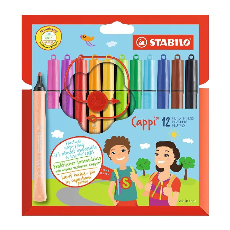 Viltpliiatsid 12 värvi Stabilo Cappi
