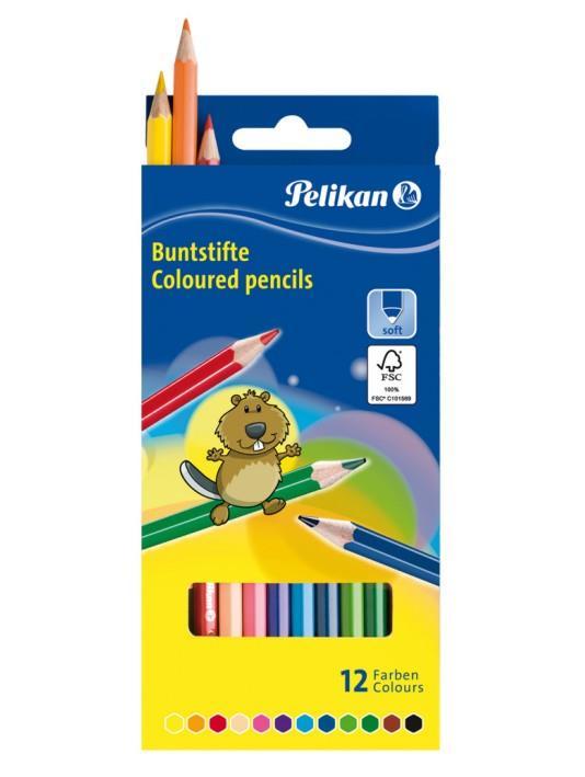 Värvipliiats 12 värvi  Pelikan kuusnurkne SOFT