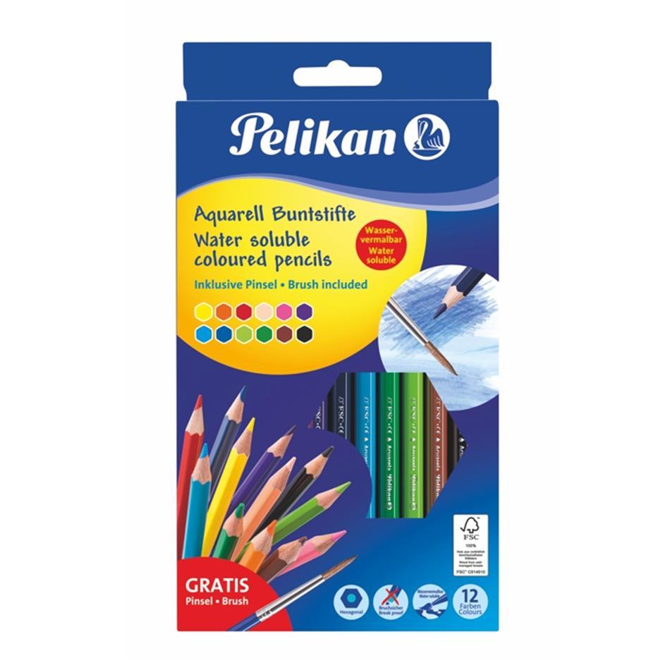 Akvarellpliiats Pelikan 12 värvi kuusnurkne + pi..
