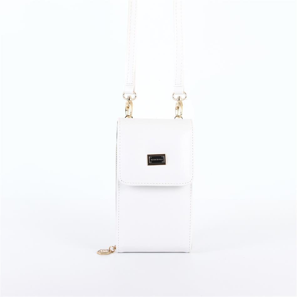 Naiste õlakott telefonile Silver&Polo 889, valge