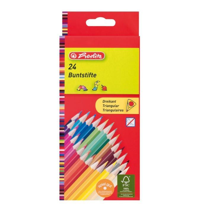 Värvipliiats 24 värvi  Herlitz kolmnurksed